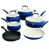 The Pioneer Woman Cobalt Cookware with Porcelain, Set of 10