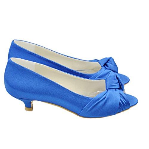 Ouvert Soirée Bleu Chaussures Moyen Talon Satin Bowknot Femmes Bout Sandales Mariée Gyayl223 Partie Minitoo De 86WRHnYx