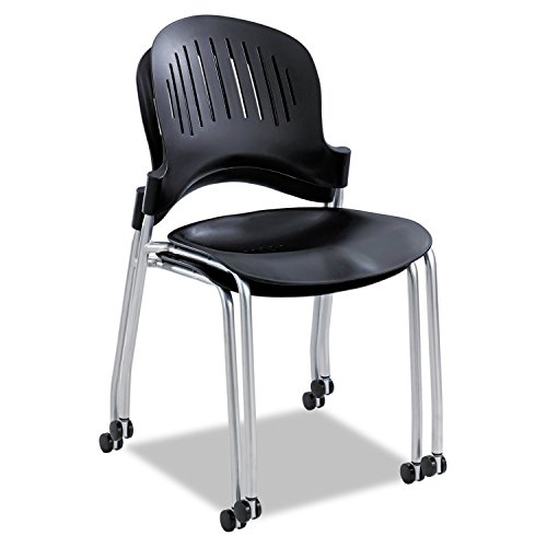 Safco Products 3385BL Zippi Plastic Stack Chair, Black