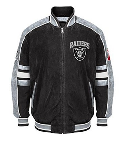 Oakland RAIDERS Officially Licensed NFL Colorblocked Suede Varsity Jacket ~2X