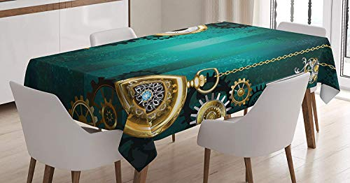 - Industrial Tablecloth,Antique Items Watches Keys and Chains with Steampunk Influences Illustration,Waterproof Spillproof Polyester tablecloths,73W X 112L Inch Green Gold