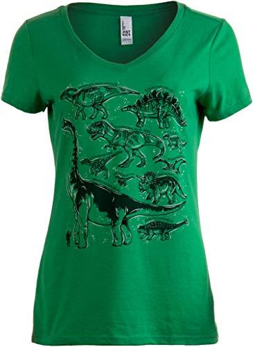 Dinosaur Species | Dino Mom Birthday Party Costume Top V-Neck T-Shirt for Women-(Green,L)