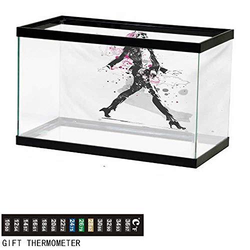 - wwwhsl Aquarium Background,Fashion,Glamorous Stylish Sexy Woman Model on Catwalk Runway in Vintage Clothes Design,Black Pink Fish Tank Backdrop 36