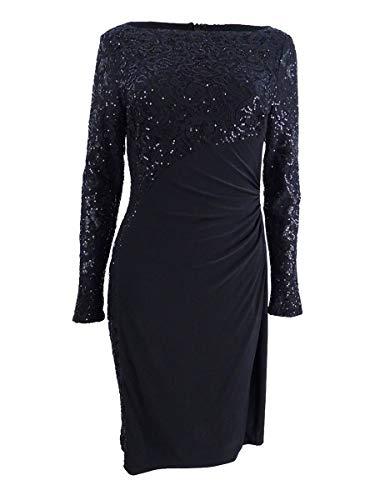 - RALPH LAUREN Lauren Women's Sequin Mixed Media Long Sleeve Sheath Dress Black 16