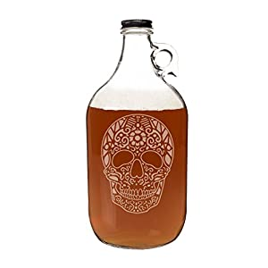 Cathy's Concepts Sugar Skull Craft Beer Growler, Clear