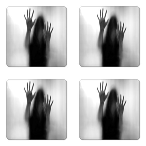 Lunarable Horror House Coaster Set of Four, Silhouette of Woman behind the Veil Scared to Death Obscured Paranormal Photo Print, Square Hardboard Gloss Coasters for Drinks, Gray by Lunarable