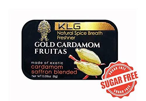 Gold Cardamom Fruitas Natural Spice Breath Freshener Cardamom Saffron Turmeric 24k Edible Gold Mint Gum Coffee Tea Flavor Booster Vegan Kosher ()