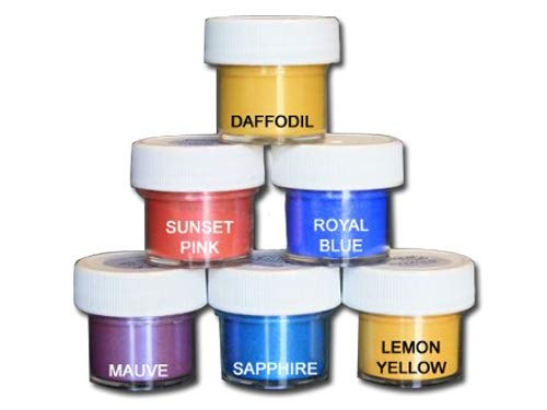 Luster Dust Set of 6 Daffodil/Sunset/Royal/Mauve/Sapphire/Lemon