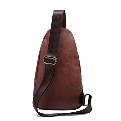 Kleine Herren Umhängetasche | Crossbody Bag | Brusttasche | Messenger Bag aus feinem PU-Kunstleder - Urban Bag Style (Braun) Braun