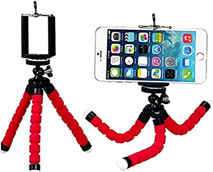 Leoie Mini Flexible Sponge Octopus Tripod with Phone Clip Holder for Android iOS Phone Camera Accessories red