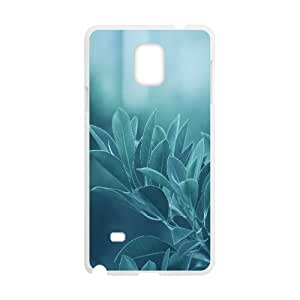 Blue Leaves Samsung Galaxy Note 4 Cases, Samsung Galaxy Note 4 Case for Girls Men Cool Cathyathome - White