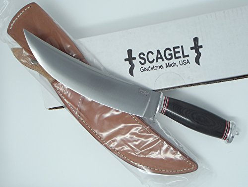 Scagel USA Made Knives Bowie Black Canvas Handle A2 Tool Steel Brown Leather (A2 Steel Knives)
