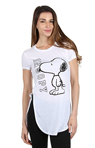 Peanuts Snoopy Women's Side Slit Extended Shirt White (M)