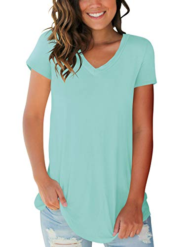 V-neck Tunic Shirt - Womens Shirts 2019 V-Neck Loose Fit Summer Tunic Comfortable Tops Lake Green L