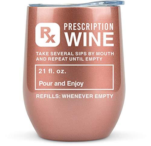 Pharmacist Gifts -Prescription Tumbler for Wine/Coffee 12oz -Funny Gift Idea for Roommates, Nurse Practitioner, Pharmacy, Women, Bulk, School, Physician, Glass, Nursing, Office