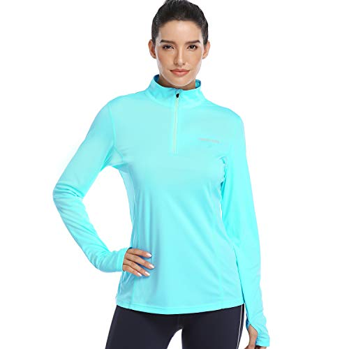 HISKYWIN Womens UPF 50+ Sun Protection Tops Long Sleeve Half-Zip Thumb Hole Outdoor Performance Workout Shirt HF806 Light Green S