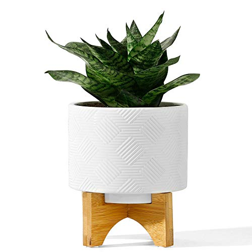 POTEY 029411 Mid Century Ceramic Planter Indoor – 5.2 Inch Medium Flower Plant Pots with Wood Stand and Drainage Hole