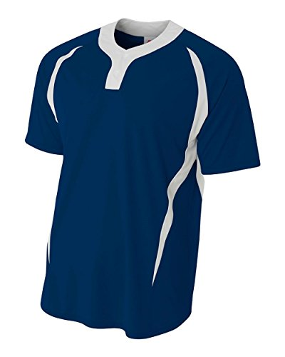A4 Sportswear Navy/White Adult 3X (Blank) Two-Button 2-Color Henley Placket Uniform Jersey ()
