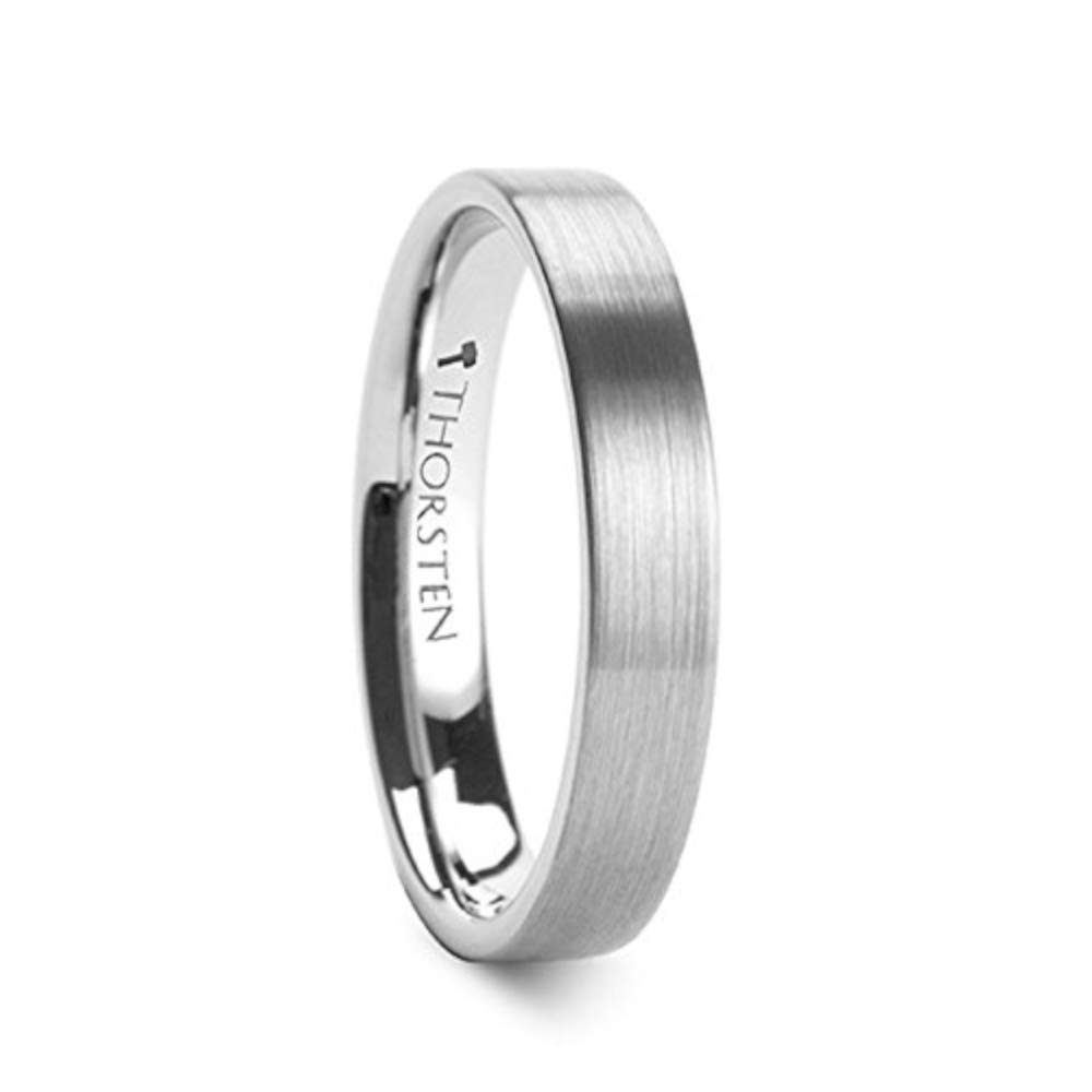 MESSALINA Flat Brushed Finish Tungsten Carbide Wedding Band - 4mm