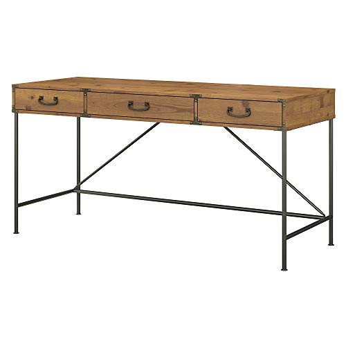 kathy ireland Home by Bush Furniture Ironworks 60W Writing Desk with Drawers in Vintage Golden Pine