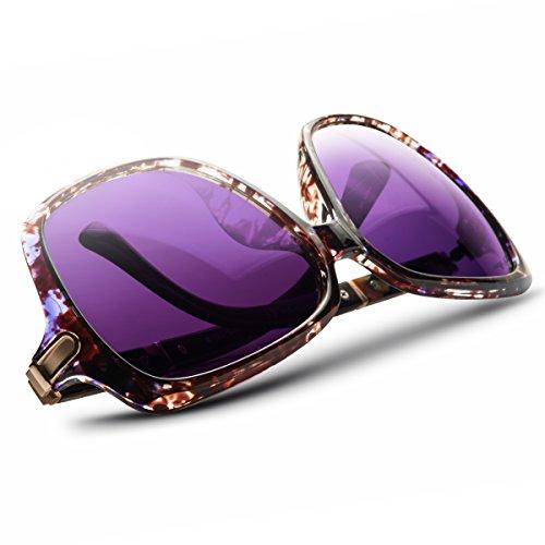 UV-BANS Women Oversized Street Fashion Designer Sunglasses Polarized UV400 Lens Holiday Gifts for Her (C-Purple Tortoiseshell Frame) by UV-BANS (Image #4)