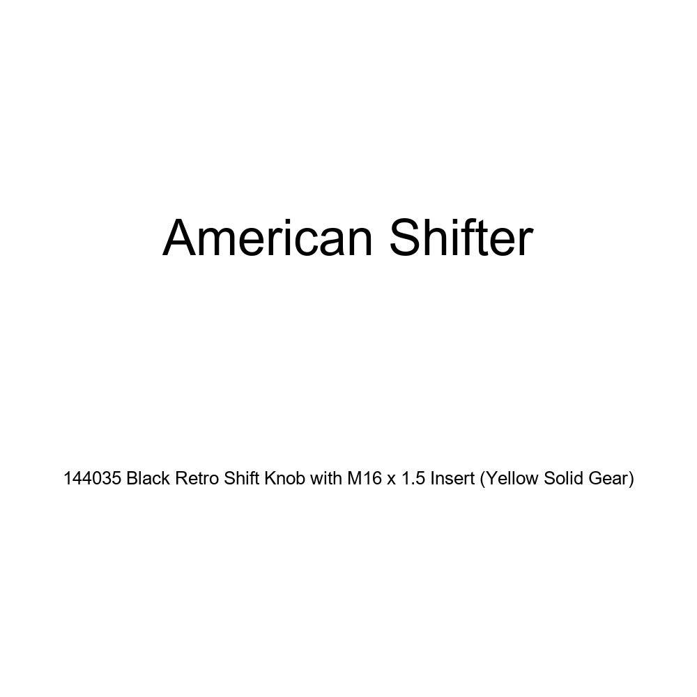 Yellow Solid Gear American Shifter 144035 Black Retro Shift Knob with M16 x 1.5 Insert