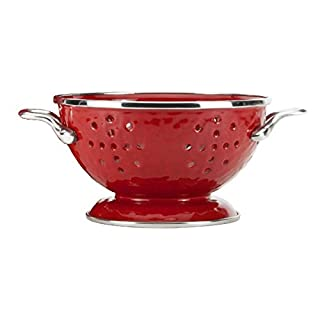 Golden Rabbit Enamelware - Red on Red Texture Pattern - 1 Quart Colander