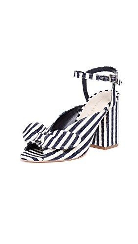 Loeffler Randall Women's Leigh Bow Sandals, White/Eclipse Stripe, 5.5 M US (Stripe Leigh)
