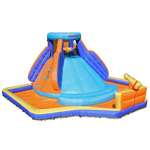 Sportspower Battle Ridge Inflatable Water Slide with Water Cannons and Climbing -