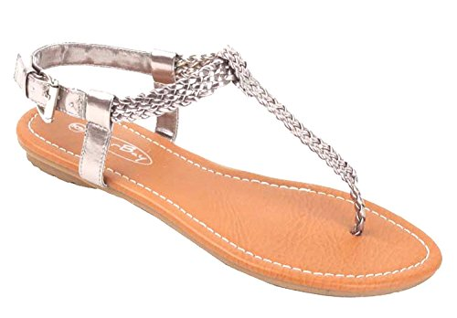The Bay Sunville Womens Roman Gladiator Sandals Flats Thongs Pewter Braided 6 B(M) US