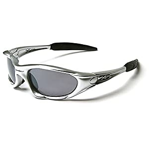 Mirozi Men's Wrap around Sports Sunglasses for the ultimate outdoor-lover, with Colored Lens & Frame (Silver, Grey)