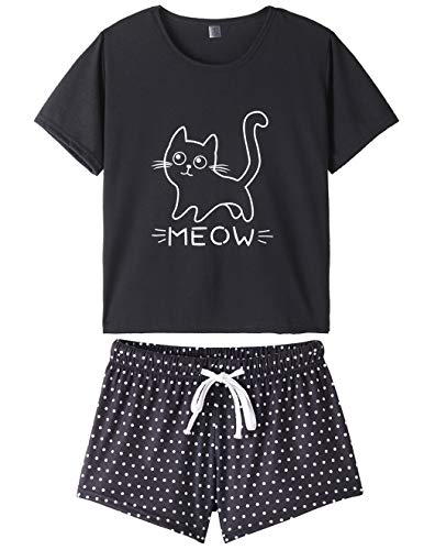 VENTELAN Summer Pajamas for Women 2 Piece Cute Cat Sleepwear Pajama Sleep Set Black ()