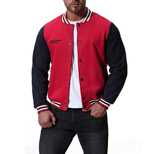 Button Plus Jacket Contrast Military Up Red Stand Leisure Collar Velvet EnergyMen dpUBqYd