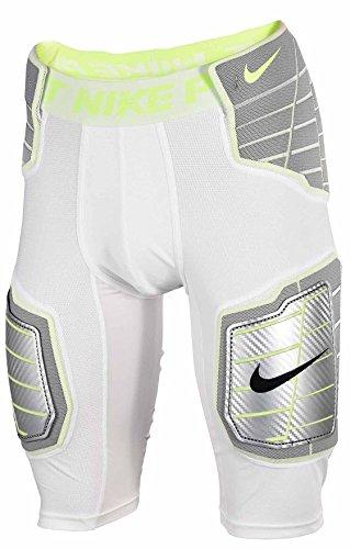(Nike Pro Combat Hyperstrong Compression Hard Plate Football (Medium, White/White/Volt/Volt))