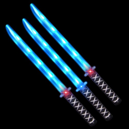 Deluxe Led Ninja Sword With Sound (Deluxe Ninja LED Light up Sword with Motion Activated Clanging Sounds (3-Pack))