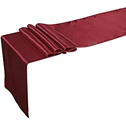 Ling's moment 12 x 108 inch Satin Table Runner Maroon, Burgundy, Dark Red, Pack of 10 Wedding Banquet Decorations, Bridal Shower, Christmas, Birthday, Graduation, Prom, Party Table Decor
