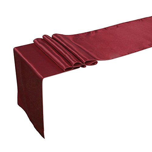 Ling's moment 12 x 108 Inch Satin Table Runner Maroon, Burgundy, Dark Red, Pack of 10, For Wedding Banquet Decorations, Bridal Shower, Christmas, Birthday, Graduation, Prom, Party Table Decor