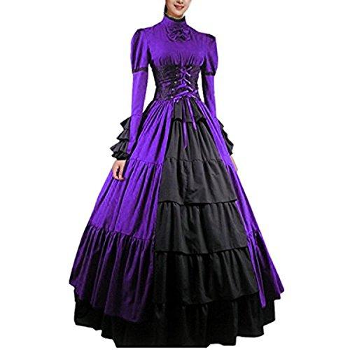 (Partiss Women Bowknot Stand Collar Gothic Victorian Dress)
