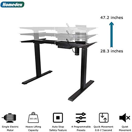 Homedex Black Electric Stand up Desk Frame Workstation, Single Motor Ergonomic Standing Height Adjustable - 3/4 Height Desk Pedestal