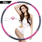 NEOWEEK | Upgraded | Weighted Hula Hoops for Exercise - 3lb, Professional Adult Hula Hoop for Weight Loss (Pink-Gray) (Pink-Gray)