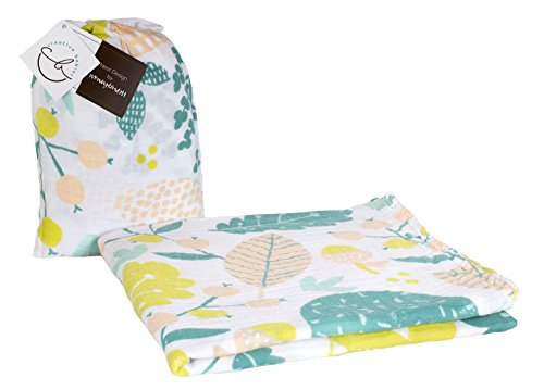 "Organic Cotton Baby Muslin Swaddle Blanket - ""Nest"" Designer Print - 47 x 47 inch Baby Girl or Baby Boy Swaddle Blanket or Nursing Cover w/ Reusable Muslin Bag Gift Set by Creative Babies"