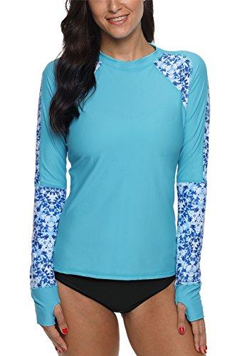 ALove Women Floral Rash Guard Shirts Surf Shirts UV Swim Tops Blue Medium