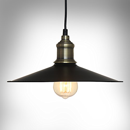 Downlight Fabric Shade (SPARKSOR Industrial Factory Pendant Lamp - Antique Brass One-Light Fixture with Metal Shade Exposed Hardware Fabric Wrapped Cord - 11.8-Inch Canopy - Downlight Modern Vintage,Adjustable Hanging Height)