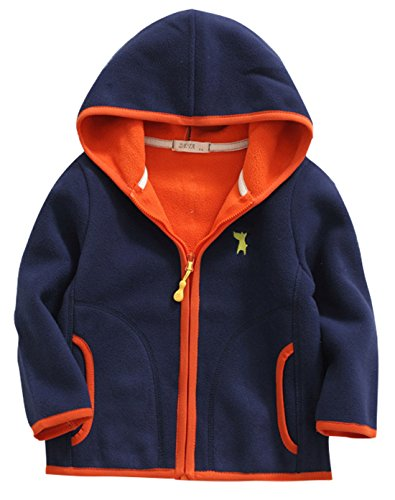 Boys Spring Jacket Soft Fleece Embroidered Catoon Dog Modern Sport Style Windcoat 6-7T Navy
