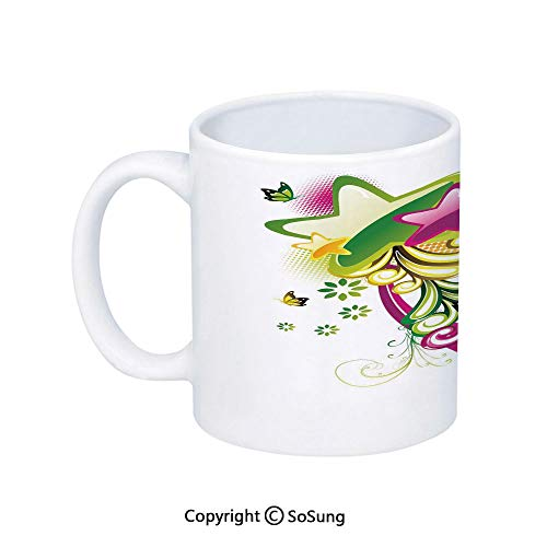 - Abstract Coffee Mug,Vibrant Colored Shooting Stars Butterflies and Swirls with Floral Space Decorative,Printed Ceramic Coffee Cup Water Tea Drinks Cup,Hot Pink Yellow Green