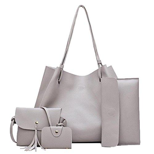 Women Sets Handbags Women Bag Bags Messenger Purse Handbag Bag 4 Crossbody Gray Card Holders Coin Pcs Leather Bag Fashion Sets Four P5nSSt