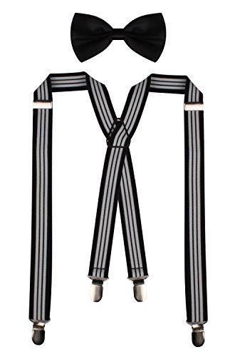 PZLE+Adjustable+X-Back+Suspenders+and+Bowties+Set+For+Men+Weddings+Black+White+Stripe