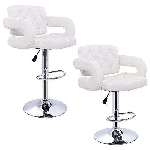 Set of 2 White Leather Swivel Bar Stools Hydraulic Dining, Pub Chair (Frontgate Dining Arm Chair Cushion)