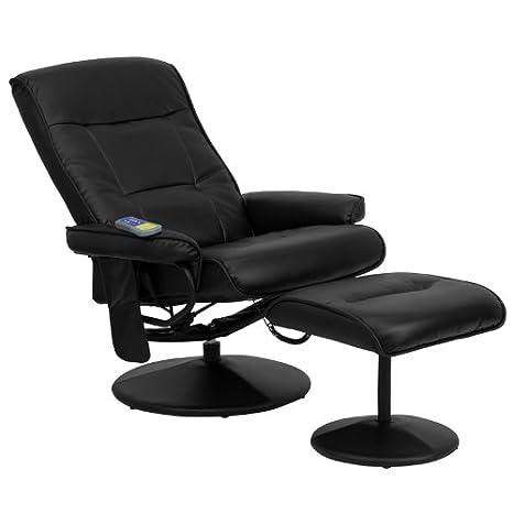 Flash Muebles Masaje Negro Piel sillón reclinable y Ottoman ...