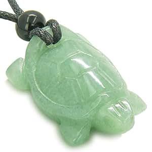 Amulet Lucky Charm Turtle Green Quartz Good Luck Powers Pendant Necklace